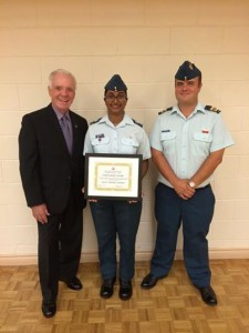 Presenting a scholarship to Cadet WO2 Anne George along with Major Greg Dowler – Commanding Officer of 819 Skyhawk Squadron.