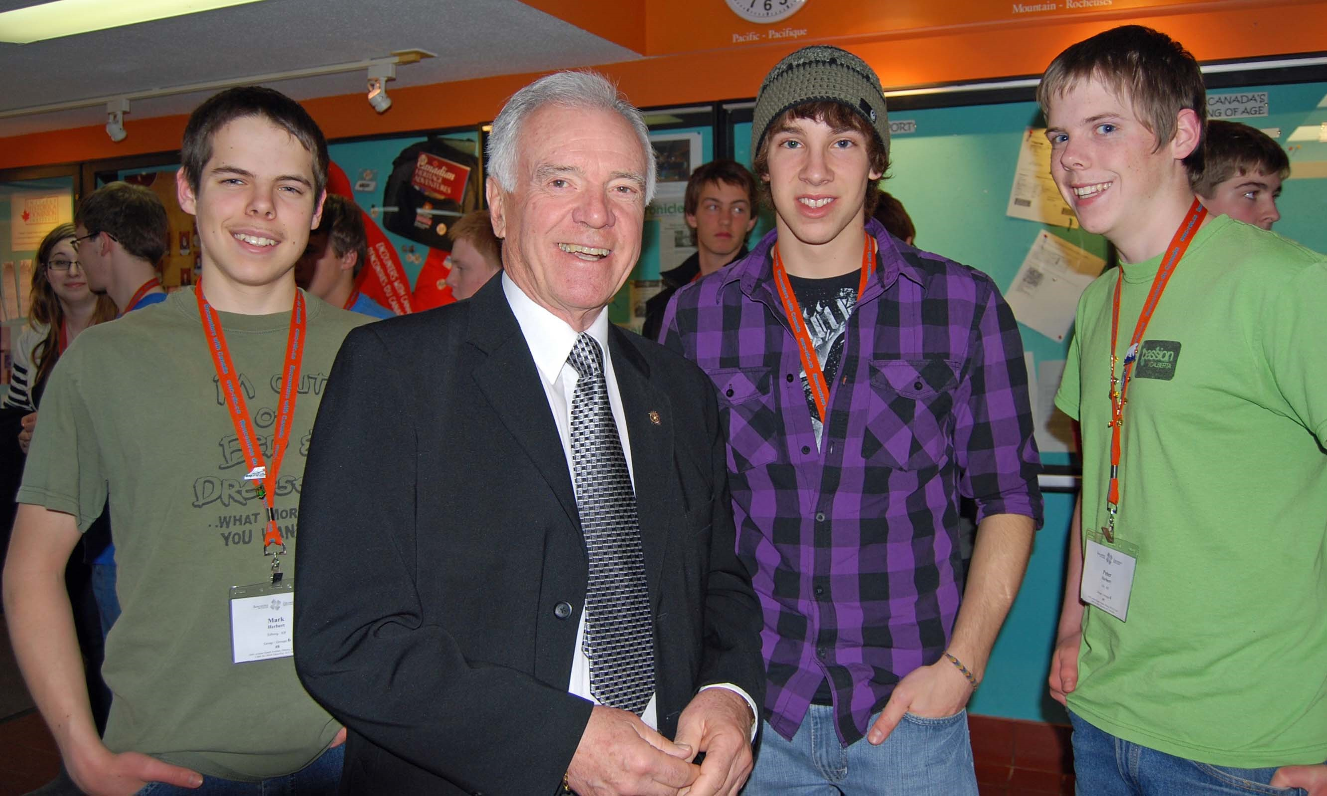 Meeting with students at the Terry Fox Canadian Youth Centre in Ottawa. The Foundation subsidized registration fees for students to attend.