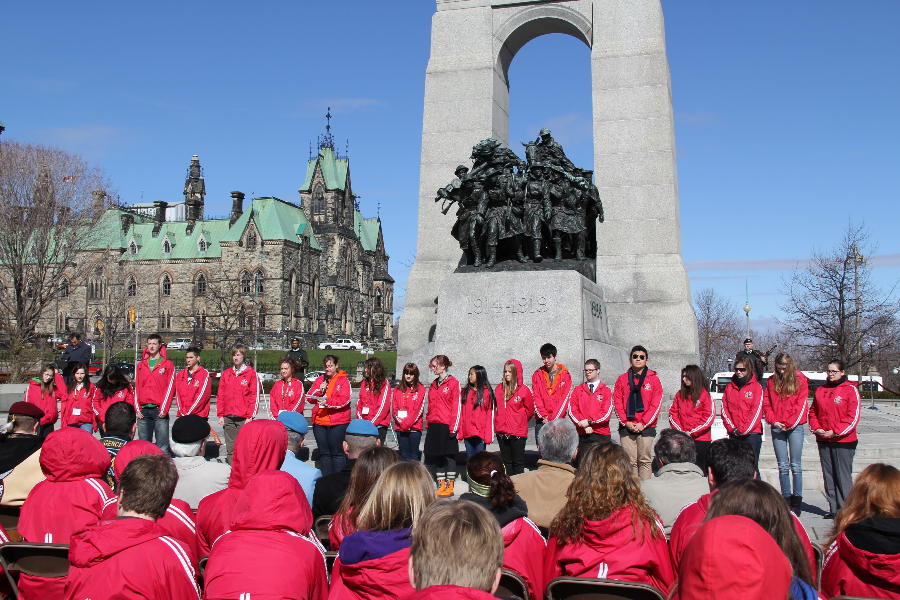 Attending Vimy Day Celebrations in Ottawa. The Foundation provided funding for students to attend the Encounters With Canada 'Vimy Week'.